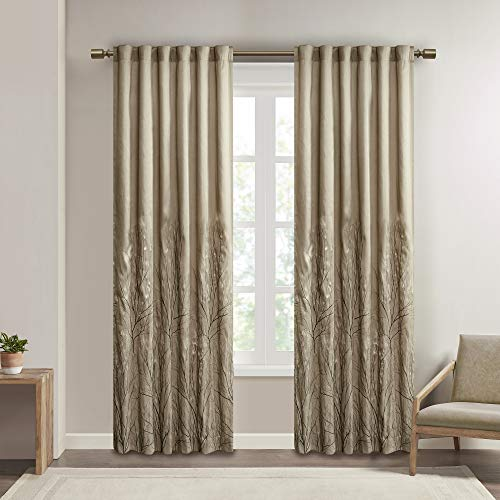 Tan Curtains for Living Room , Transitional-Rod Pocket Light Curtains for Bedroom , Andora Embroidered Back Tab Fabric Window Curtains , 50x84, 1-Panel Pack von Madison Park