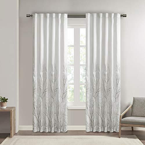White Curtains for Living Room , Transitional Rod Pocket Curtains for Bedroom , Embroidered Andora Back Tab Fabric Window Curtains , 50X84, 1-Panel Pack von Madison Park