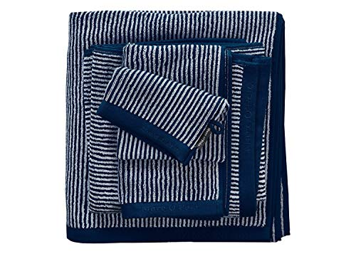Marc O Polo Frottierserie Timeless Tone Stripe Marine/Light Silver Handtuch 50x100 cm von Marc O'Polo