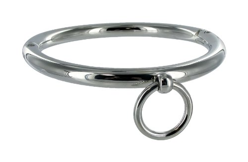 Master Series Chrome Rolled Chrome Steel Bondage Collar with Leash Ring von Master Series