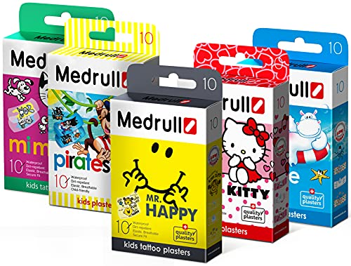 Medrull Pflaster für Kinder im Set 5er Pack (5 x10 Stück) Mr HAPPY Hello KITTY Piraten MIMI Kids Marine von Medrull