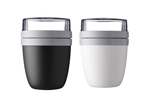 Mepal Lunchpot Ellipse 2-er Set Lunchbox Essensbehälter Reisebecher (Black and White) von Mepal