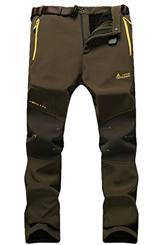 Micosuza Herren Softshellhose Winter Funktionshose Slim Fit Wasserdicht Atmungsaktiv Warm Berghose Skihose Trekkinghose Wanderhose, Grün, EU L - Etikett 2XL von Micosuza