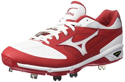 Mizuno Men's Dominant IC Baseball Shoe, Red/White, 9 D US von Mizuno