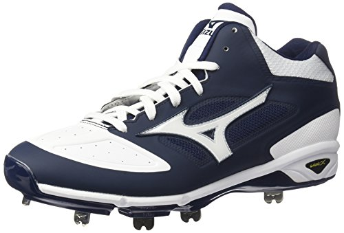 Mizuno Men's Dominant IC MID Baseball Shoe, Navy White, 9 D US von Mizuno