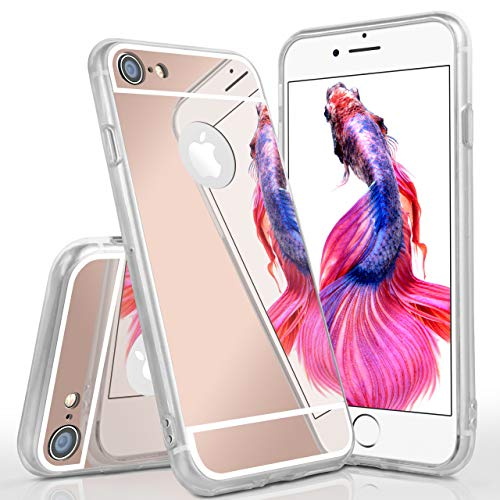 moex Spiegel Apple iPhone 7/8 | Hülle Rose-Gold Silikon Mirror Back-Cover TPU Schutzhülle Dünn Handy-Hülle für iPhone 7/8 Case Ultra-Slim Silikonhülle Rückseite von moex