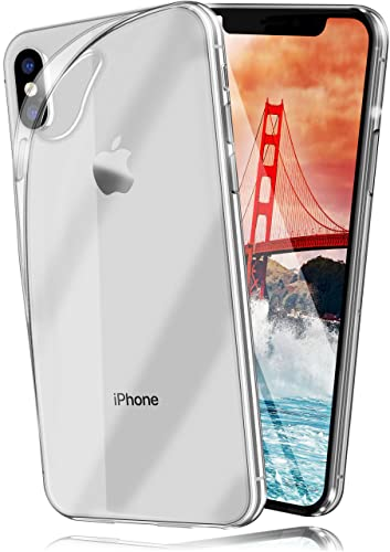 moex Apple iPhone X/XS | Hülle Silikon Transparent Klar Clear Back-Cover TPU Schutzhülle Dünn Handyhülle für iPhone X/XS Case Ultra-Slim Silikonhülle Rückseite von moex