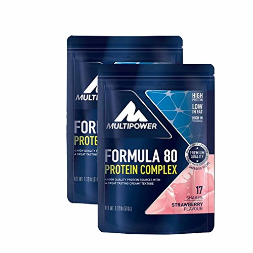 Multipower Muscle Protein Formula 80 Evolution ( 2 x 510g = 1020g), Erdbeere von Multipower