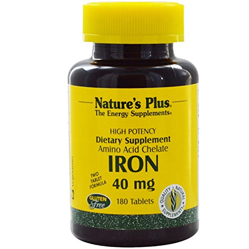 Iron / Eisen Aminosäurechelat 40 mg (2x20mg) 180 Tabletten NP von Nature's Plus