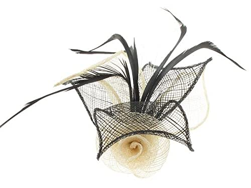 Ivory/Black Fascinator with Ivory Flower von Glitz4Girlz