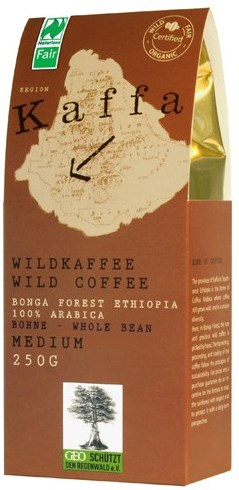 Kaffa Fairtrade Wildkaffee medium ganze Bohne