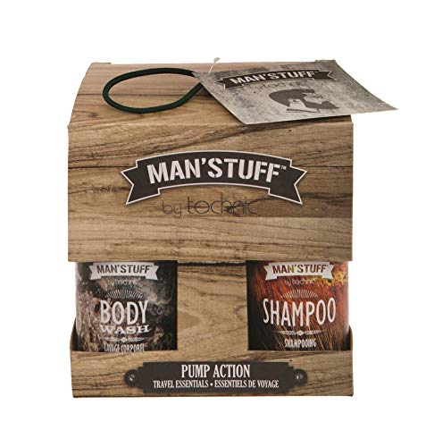 Man'Stuff - Pump Action 4 Pack Travel Essentials Perfect Stocking Filler For Any Man, Including Body Wash, Shampoo, Charcoal Face Wash & Face Moisturiser von Man'stuff