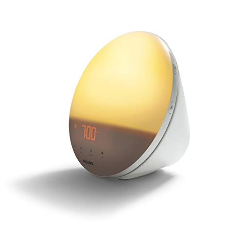 Philips HF3531/01 Wake-Up Light (Sonnenaufgangfunktion, Touchdisplay, 7 Wecktöne, digitales FM Radio, Tageslichtwecker) von Philips