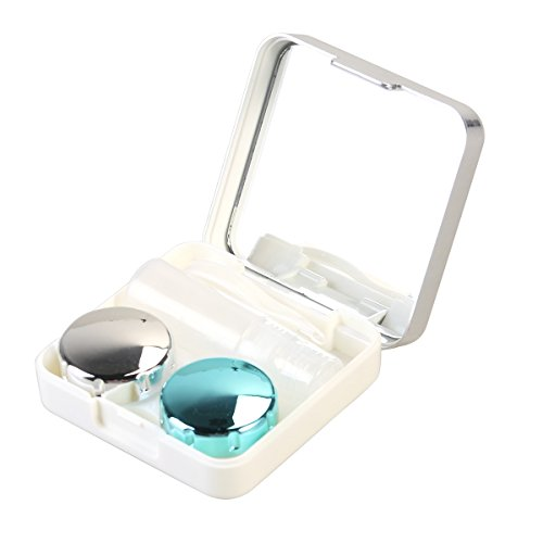 ROSENICE Contact Lens Case Mini Travel einfach Kontakt Fall Container Holder(Silver white) von ROSENICE