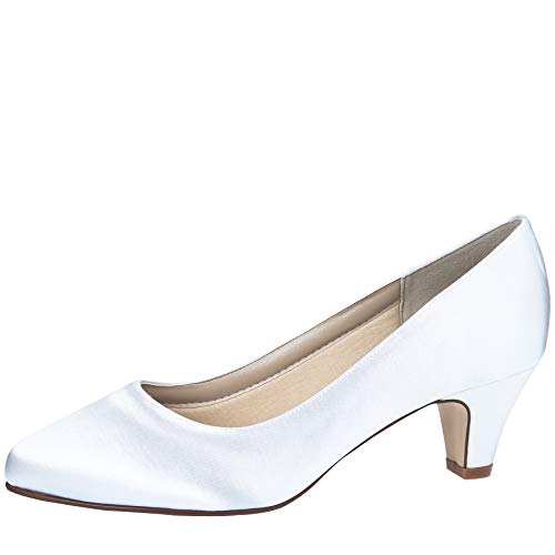 Rainbow Club Brautschuhe Megan - Damen Pumps gepolstert, Pure White, Satin - Gr. 40 (UK 7) von Rainbow Club