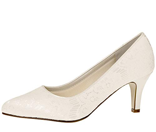 Rainbow Club Brautschuhe Pattie - Damen Pumps gepolstert, Ivory/Creme, Satin - Gr. 41.5 (UK 8.5) von Rainbow Club