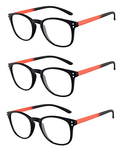 Rainbow safety Herren Damen Vollformat Lesebrille Miami Lesehilfe RRC +3.00D Orange von rainbow safety