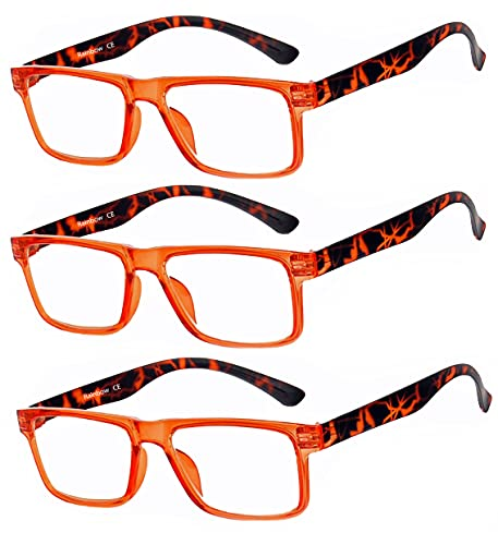 Rainbow safety Herren Damen Vollformat Lesebrille Lesehilfe RRD +3.00D Orange von rainbow safety