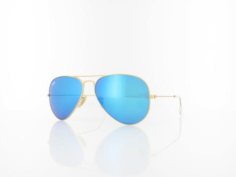 Ray Ban Aviator Large Metal RB3025 112/17 58 matte gold / crystal green blue mirror von Ray Ban