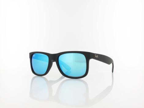 Ray Ban Justin RB4165 622/55 51 black rubber / green mirror blue von Ray Ban