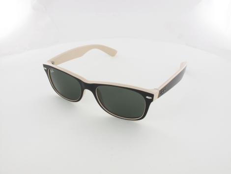 Ray Ban New Wayfarer RB2132 875 52 top black on beige / crystal green von Ray Ban