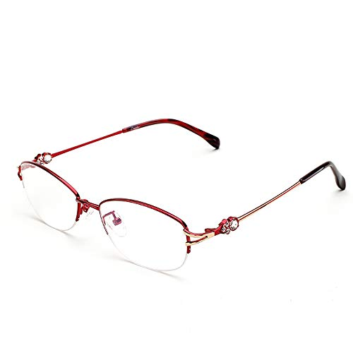 HUILIZ Lesebrille für Damen,Anti-Blaulicht, Diamantbeschichtetes Verfahren, Federscharnier, Fashion Readers für Damen, Ultraleichter Rahmen, rot von Reading glasses