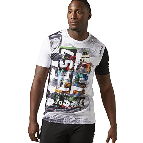 Reebok Herren T-Shirt Series Fast AS Sublimated Short Sleeve Top, White, L, AI1657 von Reebok