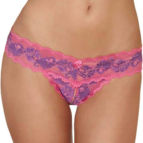 Rene Rofe Women's Crotchless Lace V Thong, Pink, Small/Medium von Rene Rofe