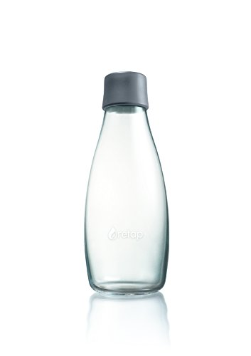 Retap ApS 0.5 Litre Medium Borosilicate Glass Water Bottle, Grey von Retap ApS