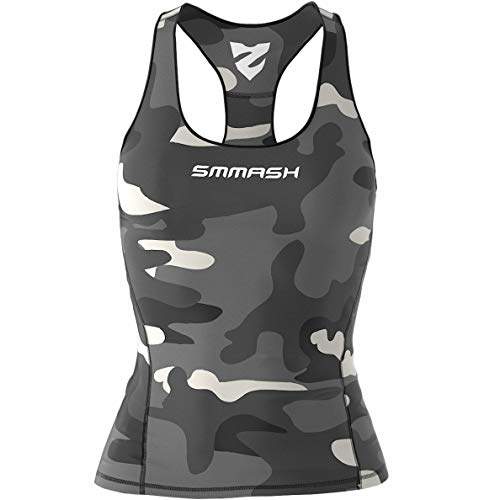 SMMASH Camo Damen Compression Sport Tank Top, Funktionsshirt für Crossfit, Fitness, Gym, Laufen, Yoga Top, Fit Cut Sporttop Damen Atmungsaktiv und Leicht, Tanktops Frauen, Hergestellt in der EU (S) von SMMASH
