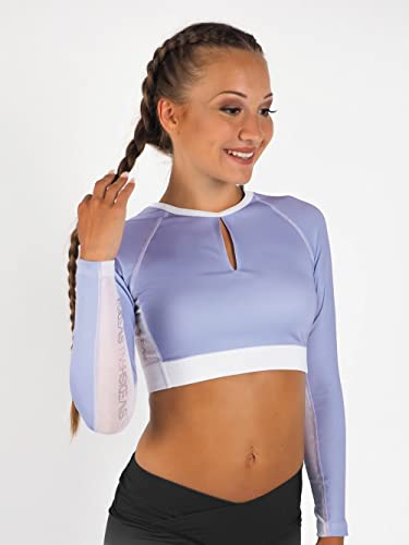 SWEDISH FALL LIFTING ATHLETES Damen Crop Top Long Elderflower, Blau, M von SWEDISH FALL LIFTING ATHLETES