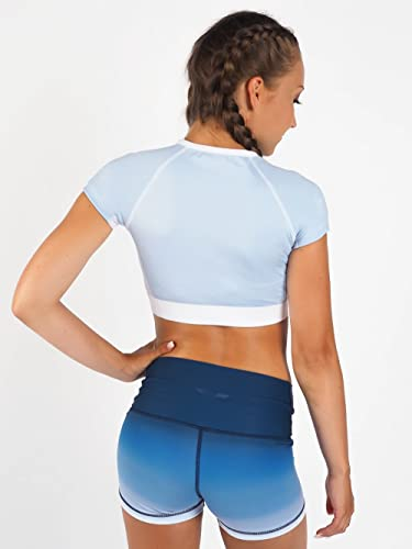 SWEDISH FALL LIFTING ATHLETES Damen Crop Top Short Malibu Vibes, Blau, XS von SWEDISH FALL LIFTING ATHLETES