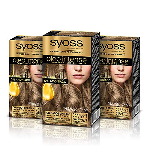 Syoss Oleo Intense Permanent Intensive Oil Color 7.58 Cool Beige Blond, 3er Pack (3 x 1 Stück) von Syoss