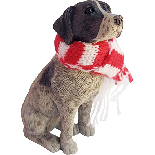 Sandicast German Shorthaired Pointer with Red and White Scarf Christmas Ornament von Sandicast