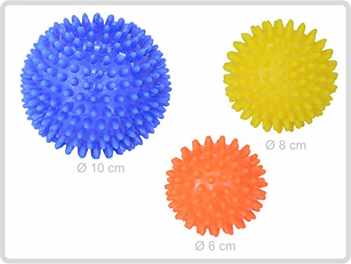 Igelball Igel-Ball Noppenball Massageball 3er-Set (blau - gelb - orange) von Sani-Alt