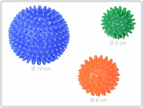 Igelball Igel-Ball Noppenball Massageball 3er-Set (blau - orange - grün) von Sani-Alt
