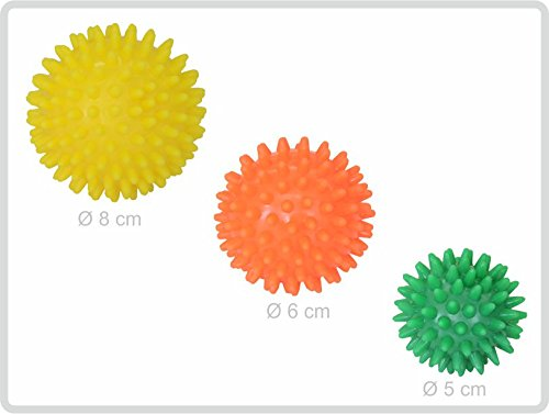 Igelball Igel-Ball Noppenball Massageball 3er-Set (gelb - orange - grün) von Sani-Alt