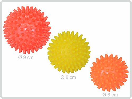 Igelball Igel-Ball Noppenball Massageball 3er-Set (rot - gelb - orange) von Sani-Alt