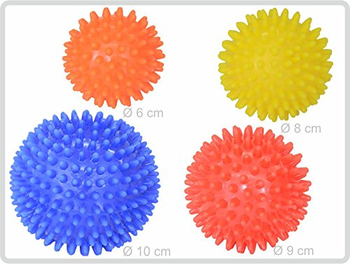 Igelball Igel-Ball Noppenball Massageball 4er-Set (blau - rot - gelb - orange) von Sani-Alt