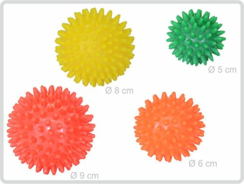 Igelball Igel-Ball Noppenball Massageball 4er-Set (rot - gelb - orange - grün) von Sani-Alt