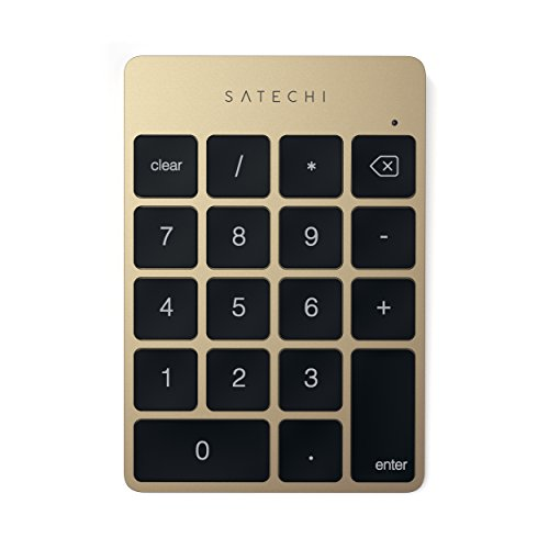 Satechi Slim Tragbares Aluminium Bluetooth Wireless 18 - Tasten Keypad/Tastatur/Nummernblock für Dateneingabe in Excel und Zahlen kompatibel mit iMac, Macbook, Macbook Pro, Laptops, Arbeitsstationen (Gold) von SATECHI