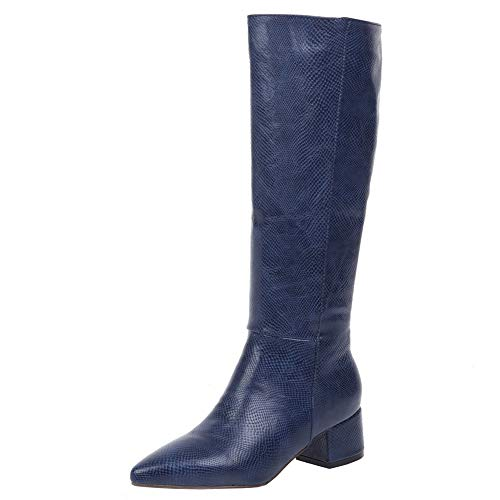 Si Diosa Elegant Damen Stiefel Kniehoch Pointed Toe Slouch Stiefel Blockabsatz Pull on Party Lange Stiefel Wide Open Stiefel for Work Blue Gr 40 von Si Diosa