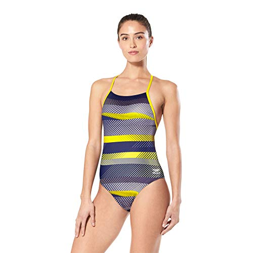 Speedo Badeanzug für Damen, Einteiler, Endurance+, gekreuzter Rücken, Bedruckt, Teamfarben, Damen, Badeanzug, Female One Piece Racing Suite - The Fast Way Cross Back, The Fast Way Marineblau/Gold, 20 von Speedo