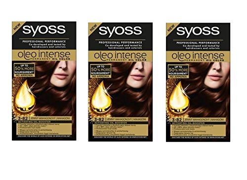 Syoss Oleo Intense Permanent Intensive Oil Color 3-82 Subtle Mahagoni 3er Pack von Syoss
