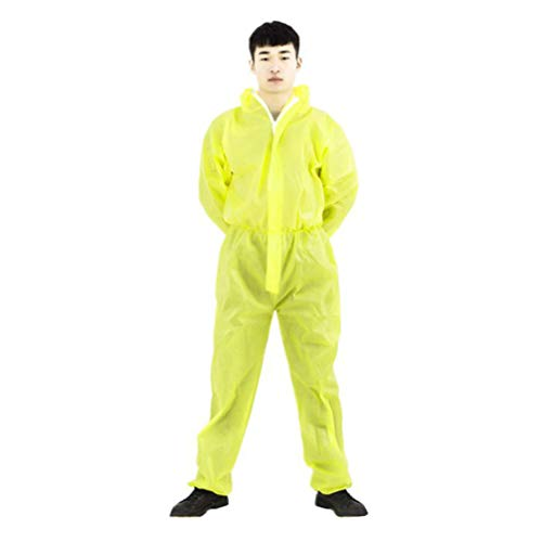 TOPBATHY Protective Coverall with Elastic Wrist Anti-static Breathable Isolation Gown Body Protective Clothes Anti-saliva Work Clothes for Outdoor Size L (Yellow) von TOPBATHY