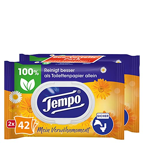 2er Pack Tempo Feuchte Toilettent/ücher sanft /& pflegend Duo Vorteilspack 2x42er