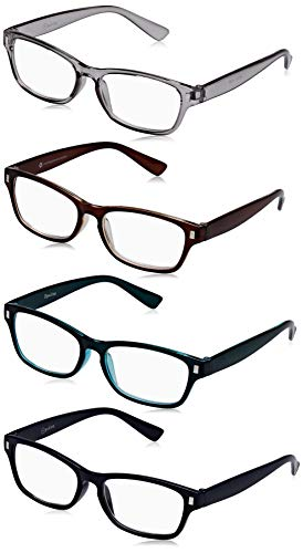 The Reading Glasses Company Die Lesebrille Unternehmen Braun Dunkelblau Aquamarin Grau Leser Wert 4er-Pack Herren Frauen RRRR77-23Q7 +3,00 von The Reading Glasses