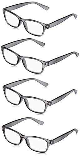 The Reading Glasses Company Die Lesebrille Unternehmen Grau Leser Wert 4er-Pack Herren Frauen RRRR77-7 +2,50 von The Reading Glasses