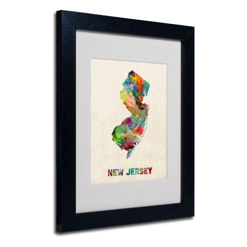 New Jersey Map Matted Framed Art by Michael Tompsett in Black Frame, 11 by 14-Inch von Trademark Fine Art