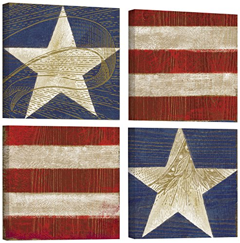 Tremont Hill Stars und Stripes I, rot, 121,9 x 121,9 cm von Tremont Hill